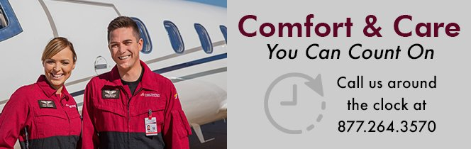 How to schedule with Angel MedFlight. Air ambulance service you can count on. Comfort and Care Logo for Medical flights