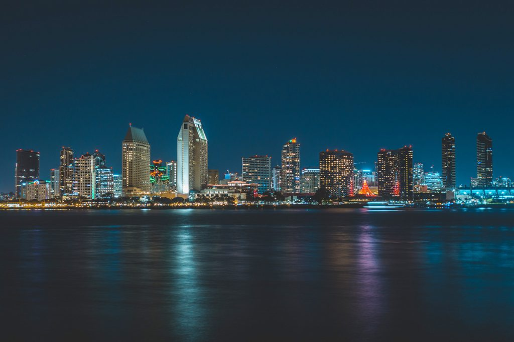San Diego skyline during nightime