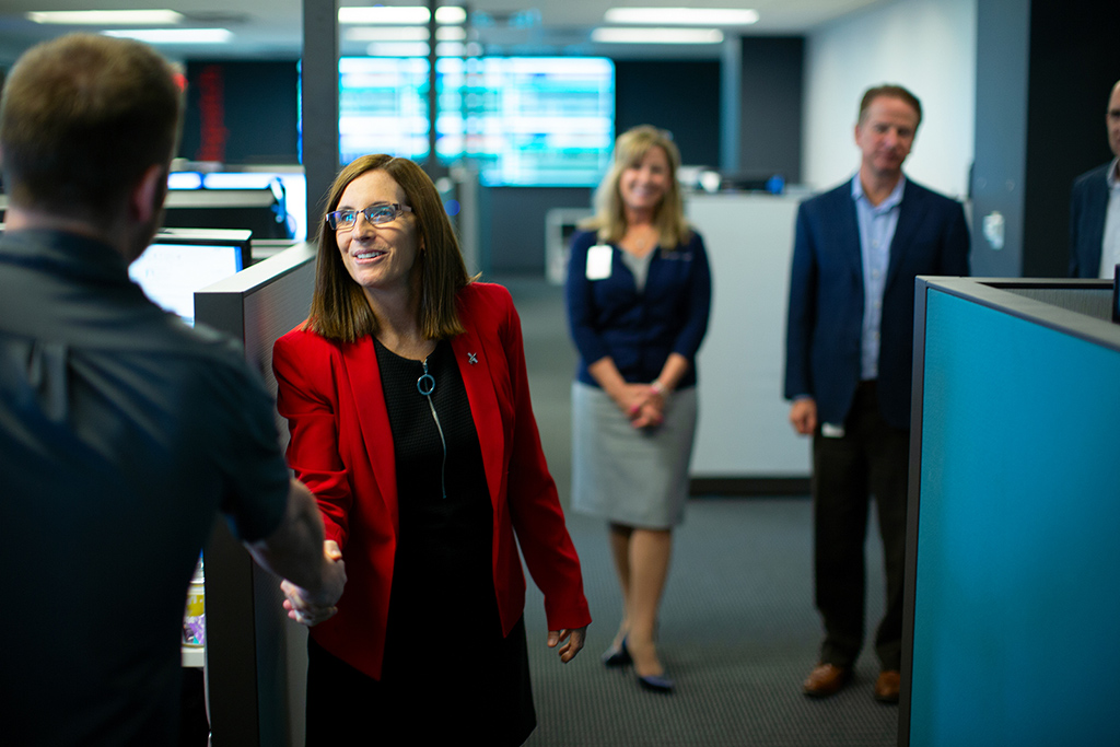 Arizona Congresswoman Martha McSally shakes hands with Angel MedFlight employees