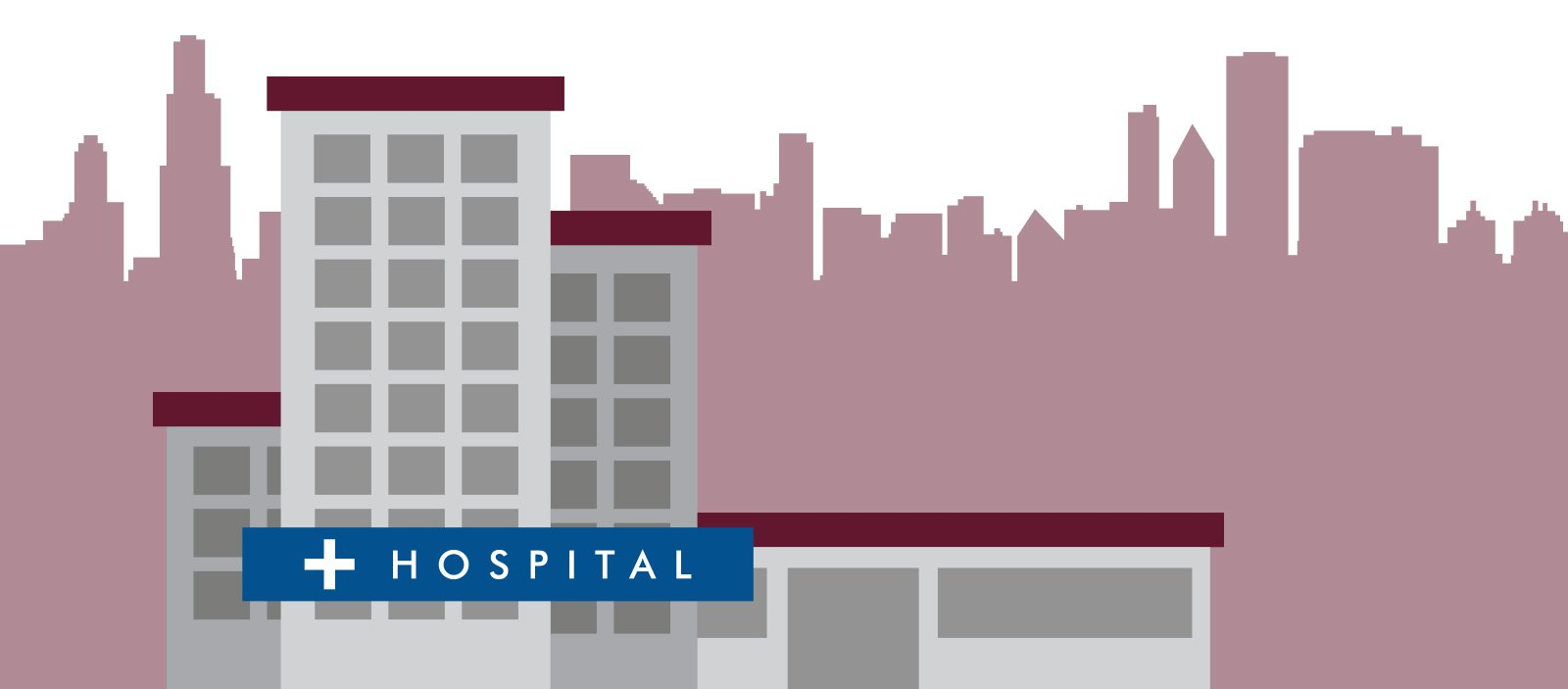 Drawing of a Hospital building with a skyline in the background.