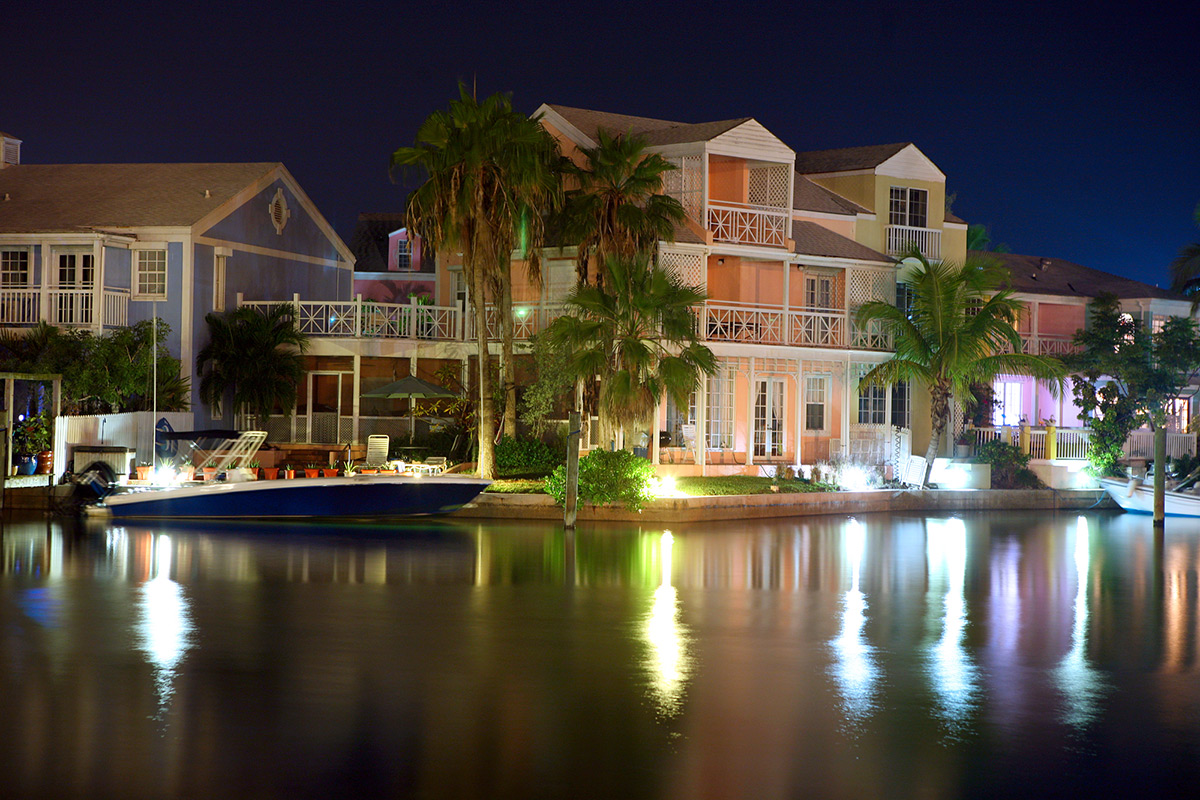 Tropical Caribbean Harbor Boat Marina in the Night Light